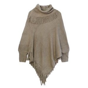 Taupe Fringe Poncho with Sleeves One Size